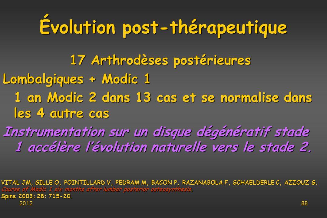 Évolution post-thérapeutique