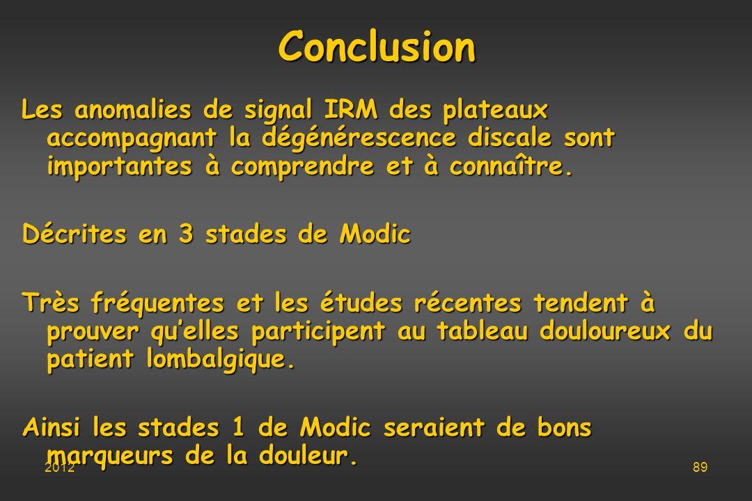 Conclusion Les anomalies de signal IRM des plateaux accompagnant la dégénérescence discale sont importantes à comprendre et à connaître.