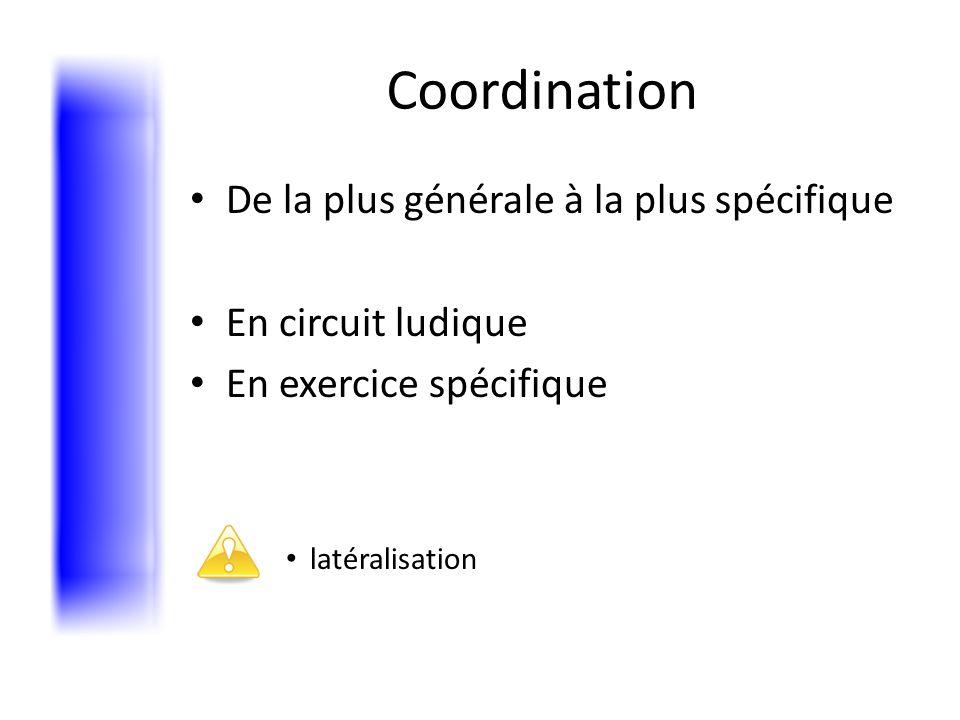 Coordination De la plus générale à la plus spécifique