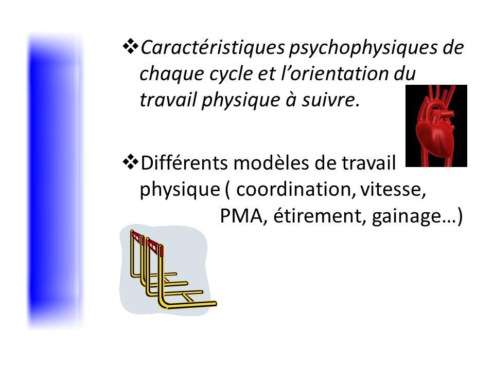 Caractéristiques psychophysiques de chaque cycle et l'orientation du travail physique à suivre.