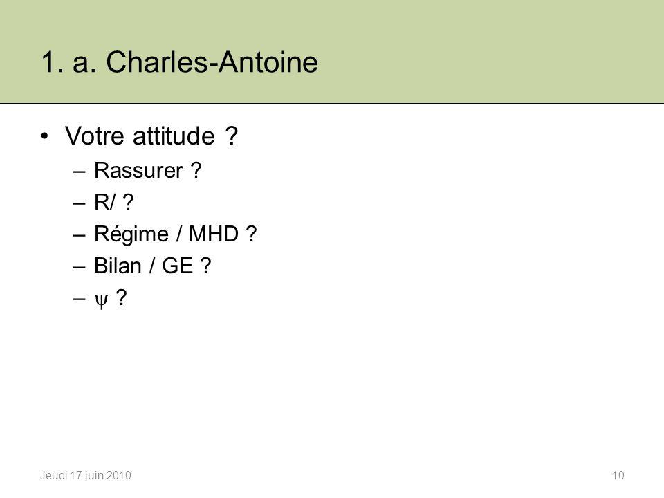 1. a. Charles-Antoine Votre attitude Rassurer R/ Régime / MHD