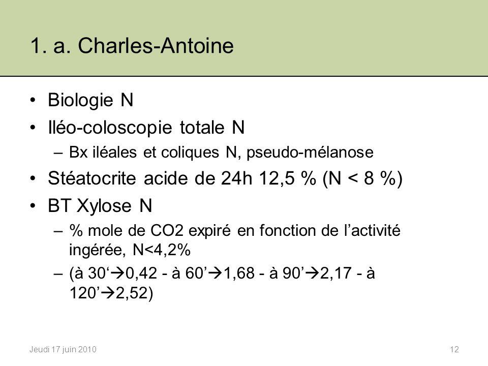 1. a. Charles-Antoine Biologie N Iléo-coloscopie totale N