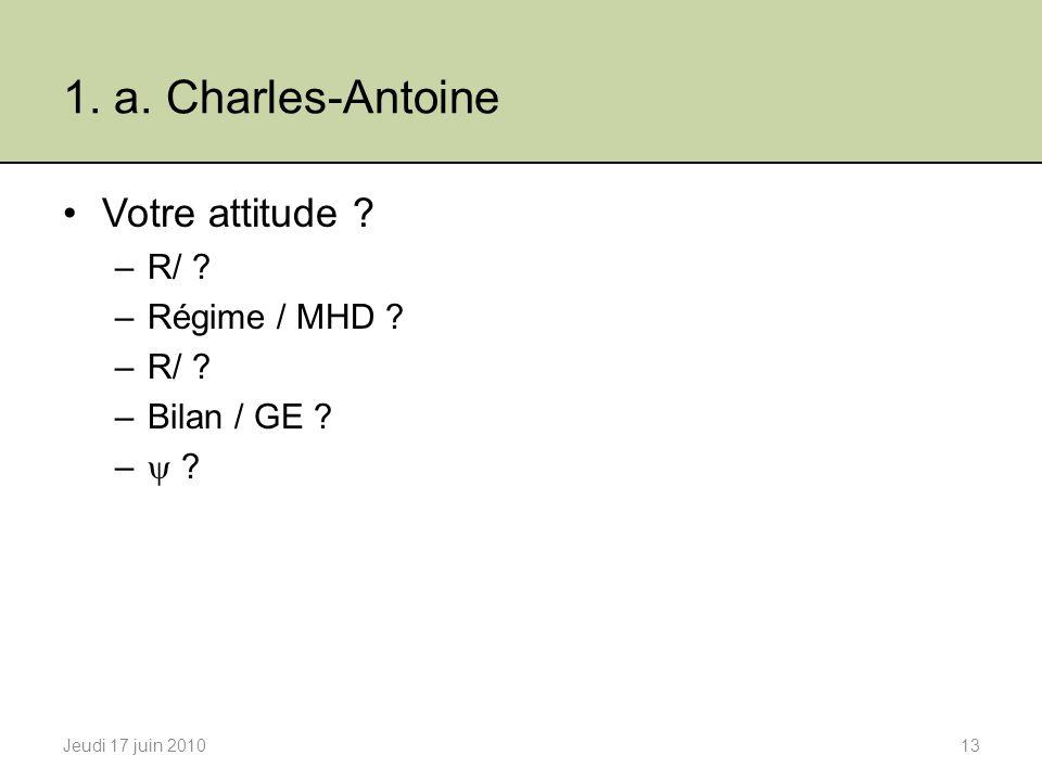 1. a. Charles-Antoine Votre attitude R/ Régime / MHD