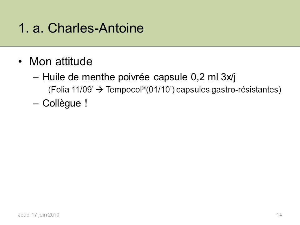 1. a. Charles-Antoine Mon attitude