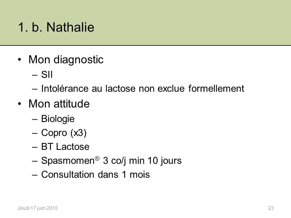 1. b. Nathalie Mon diagnostic Mon attitude SII