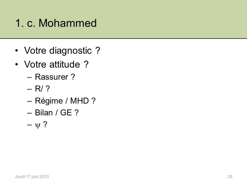 1. c. Mohammed Votre diagnostic Votre attitude Rassurer R/