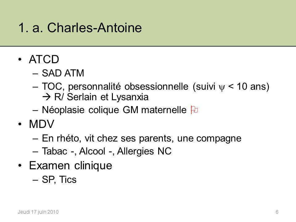 1. a. Charles-Antoine ATCD MDV Examen clinique SAD ATM