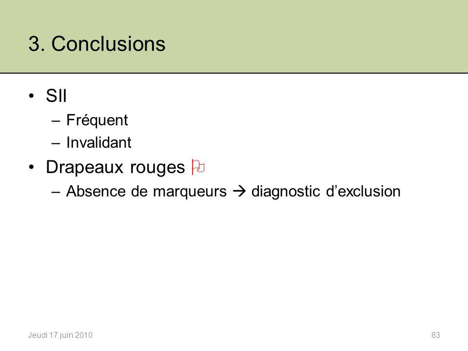 3. Conclusions SII Drapeaux rouges  Fréquent Invalidant