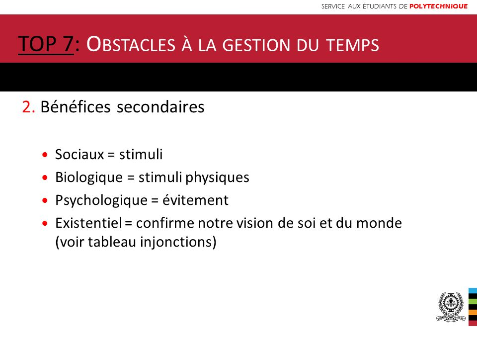 TOP 7: Obstacles à la gestion du temps