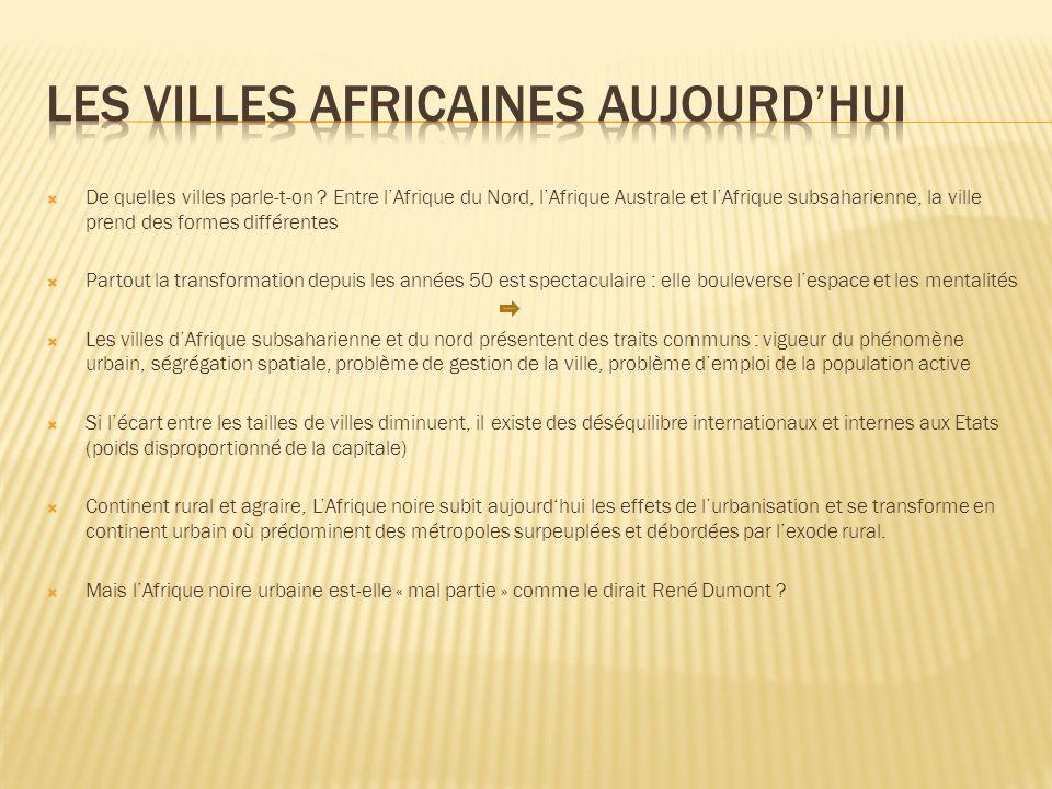 Les villes africaines aujourd'hui