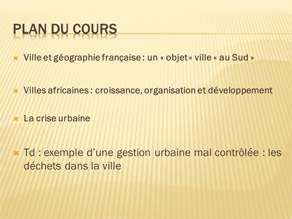 Plan du cours Ville et géographie française : un « objet » ville « au Sud » Villes africaines : croissance, organisation et développement.