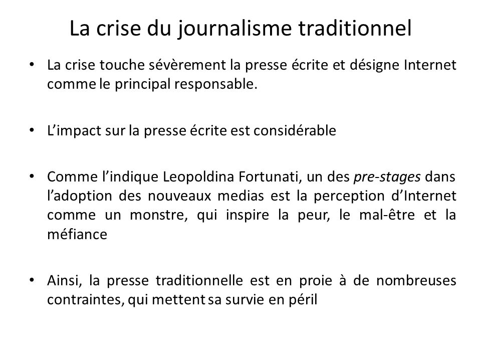 La crise du journalisme traditionnel