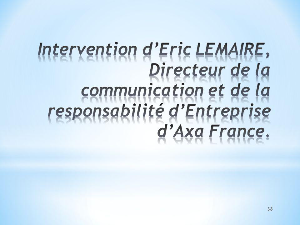 Intervention d'Eric LEMAIRE, Directeur de la communication et de la responsabilité d'Entreprise d'Axa France.