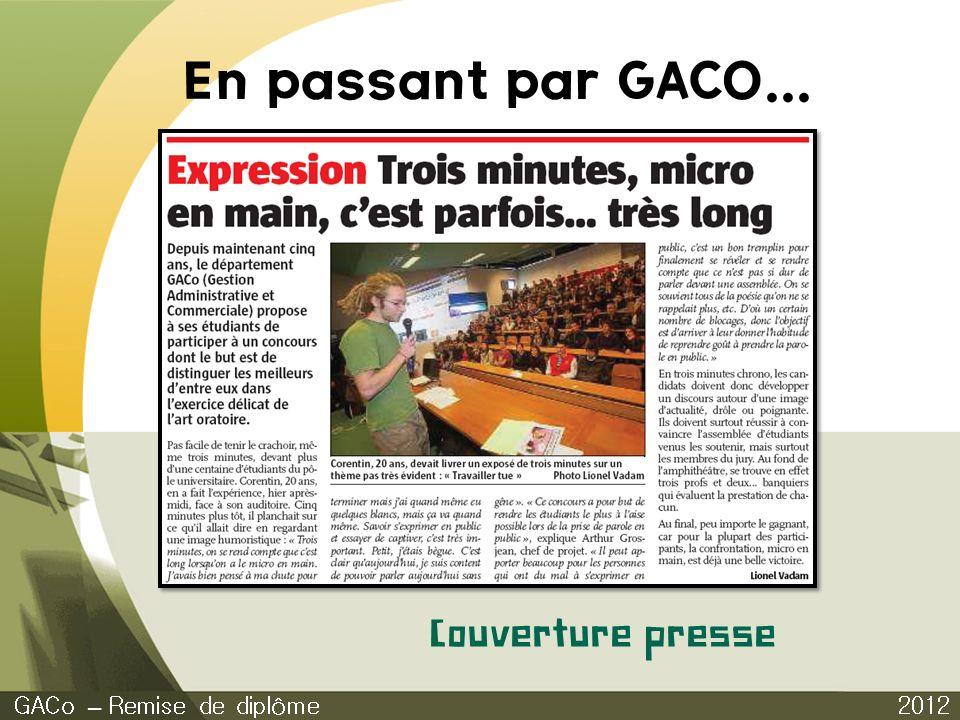 En passant par GACO... Couverture presse GACo – Remise de diplôme 2012
