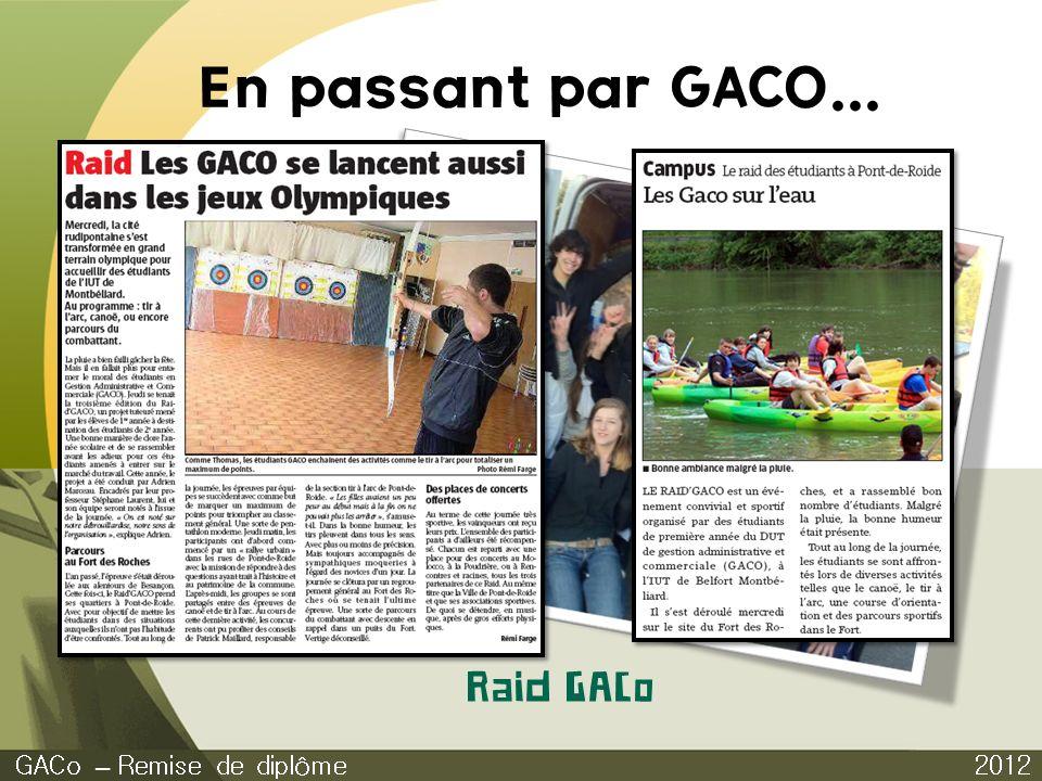 En passant par GACO... Raid GACo GACo – Remise de diplôme 2012