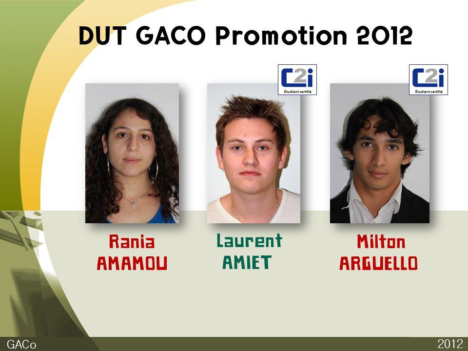 DUT GACO Promotion 2012 Rania AMAMOU Laurent AMIET Milton ARGUELLO