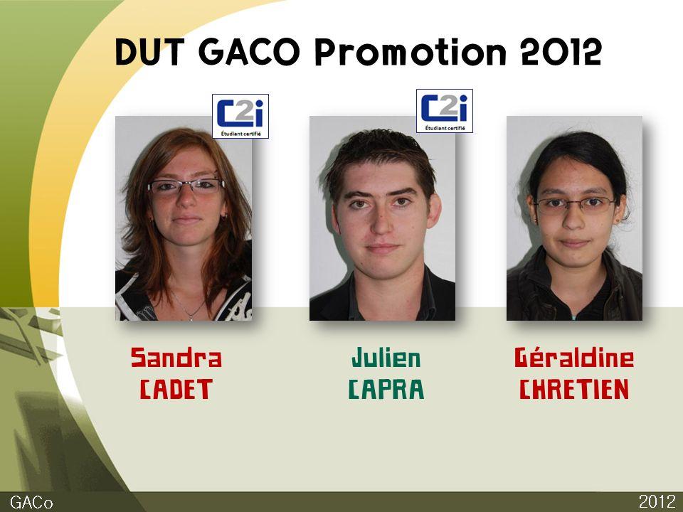DUT GACO Promotion 2012 Sandra CADET Julien CAPRA Géraldine CHRETIEN