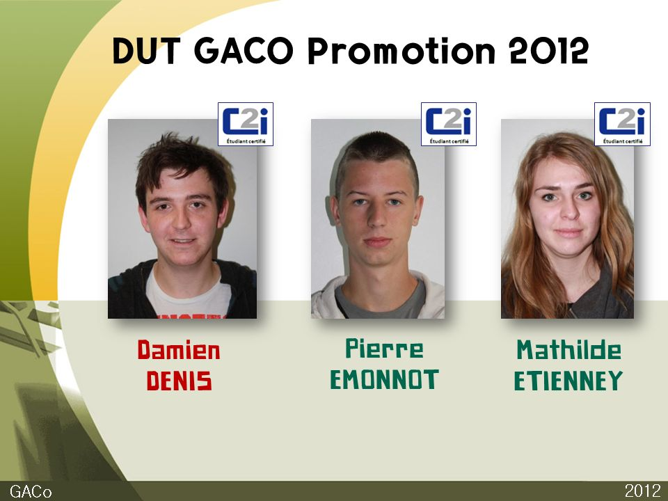 DUT GACO Promotion 2012 Damien DENIS Pierre EMONNOT Mathilde ETIENNEY