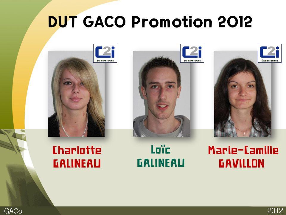 DUT GACO Promotion 2012 Charlotte GALINEAU Loïc GALINEAU Marie-Camille