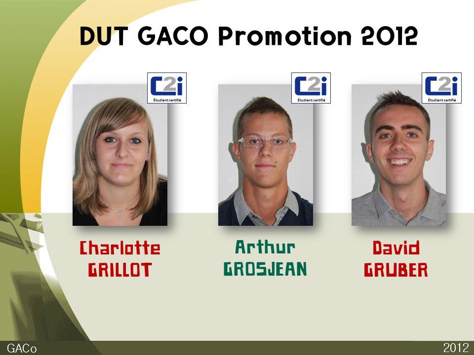 DUT GACO Promotion 2012 Charlotte GRILLOT Arthur GROSJEAN David GRUBER