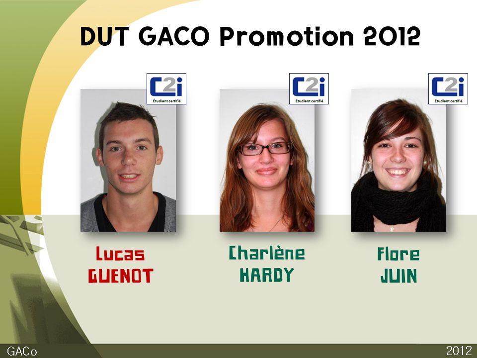 DUT GACO Promotion 2012 Lucas GUENOT Charlène HARDY Flore JUIN GACo