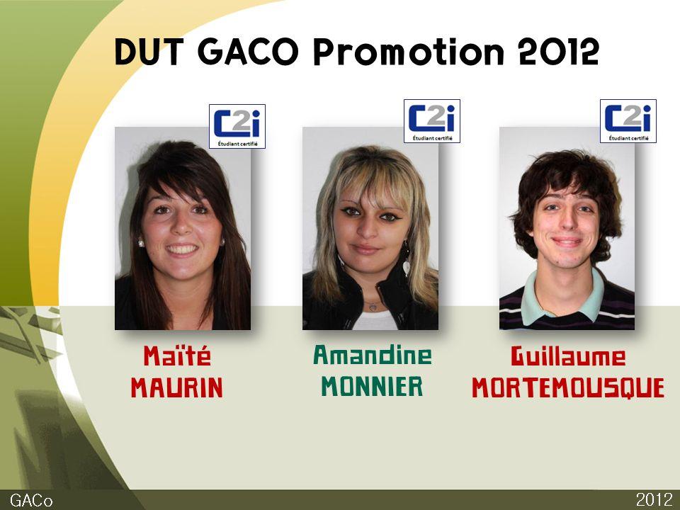 DUT GACO Promotion 2012 Maïté MAURIN Amandine MONNIER Guillaume