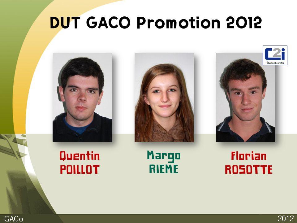 DUT GACO Promotion 2012 Quentin POILLOT Margo RIEME Florian ROSOTTE