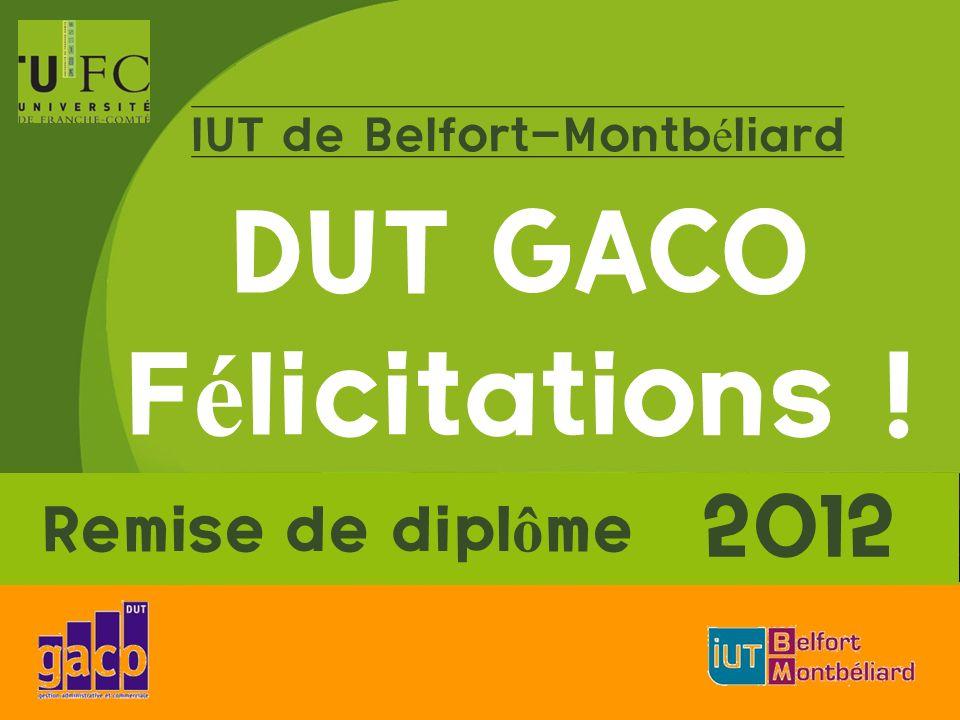 IUT de Belfort-Montbéliard DUT GACO Félicitations !