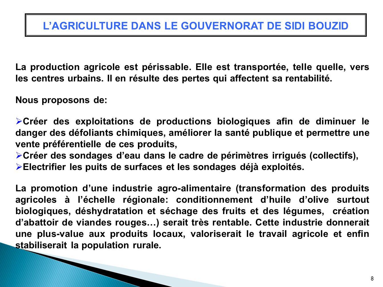 L'AGRICULTURE DANS LE GOUVERNORAT DE SIDI BOUZID