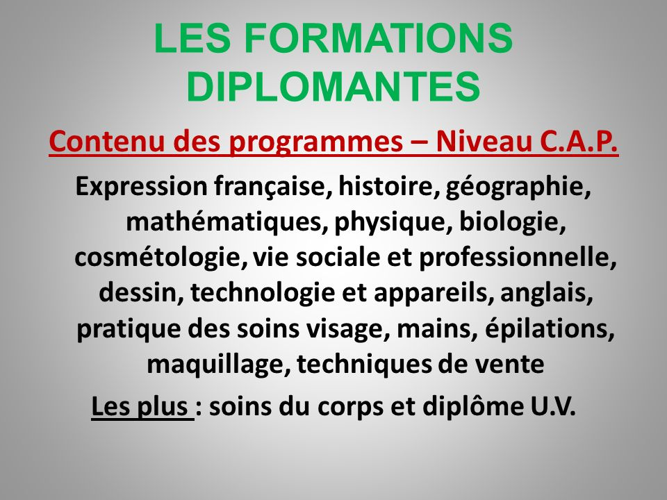 LES FORMATIONS DIPLOMANTES