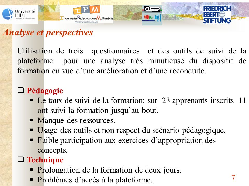 Analyse et perspectives