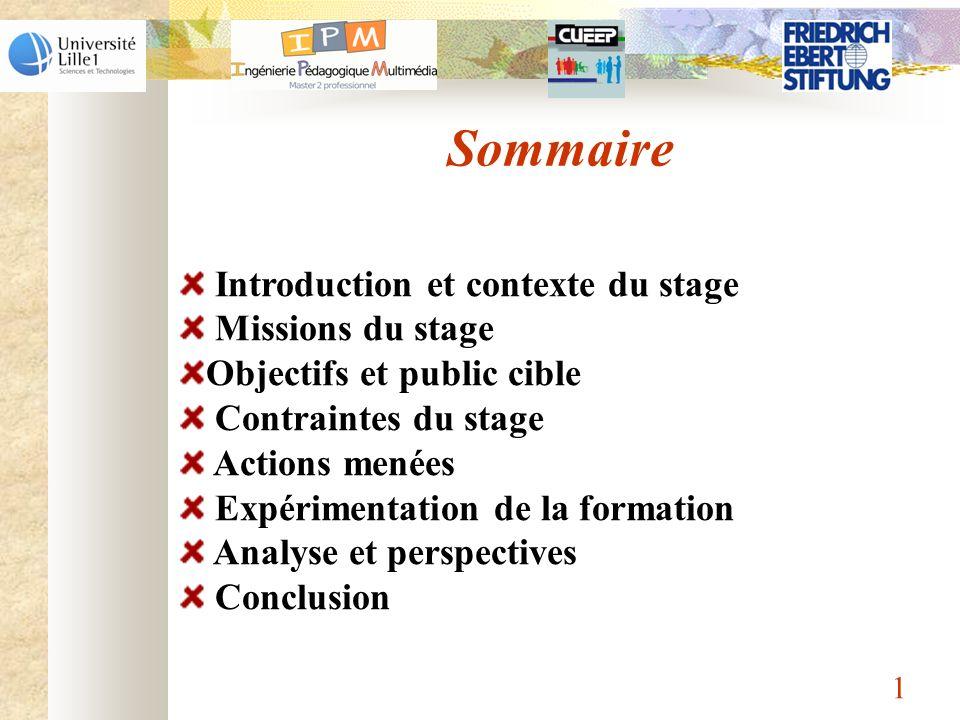 Sommaire Introduction et contexte du stage Missions du stage