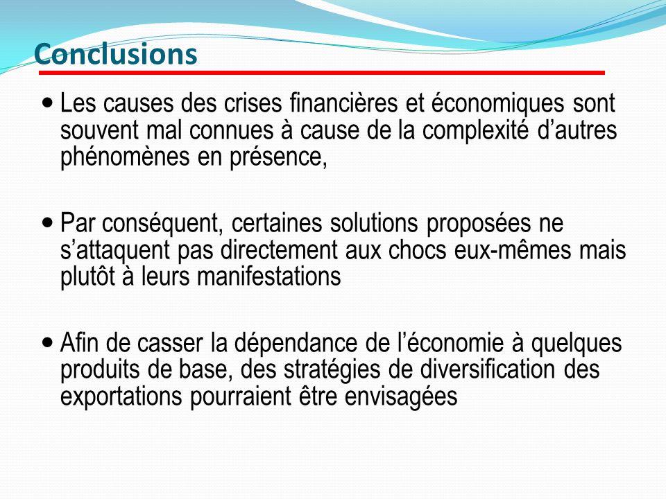 Conclusions Les causes des crises financières et économiques sont souvent mal connues à cause de la complexité d'autres phénomènes en présence,