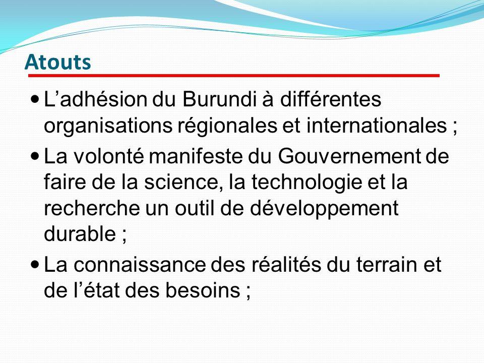 Atouts L'adhésion du Burundi à différentes organisations régionales et internationales ;