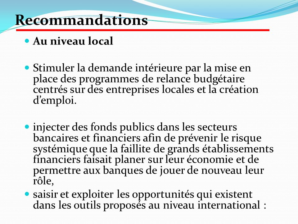 Recommandations Au niveau local