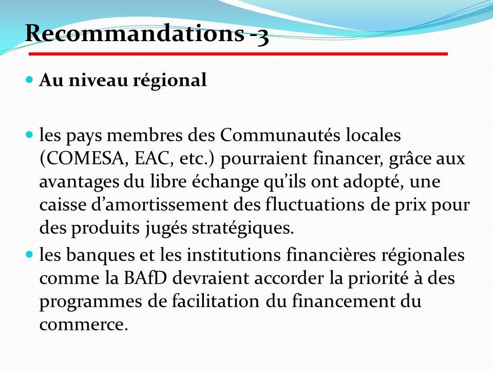 Recommandations -3 Au niveau régional