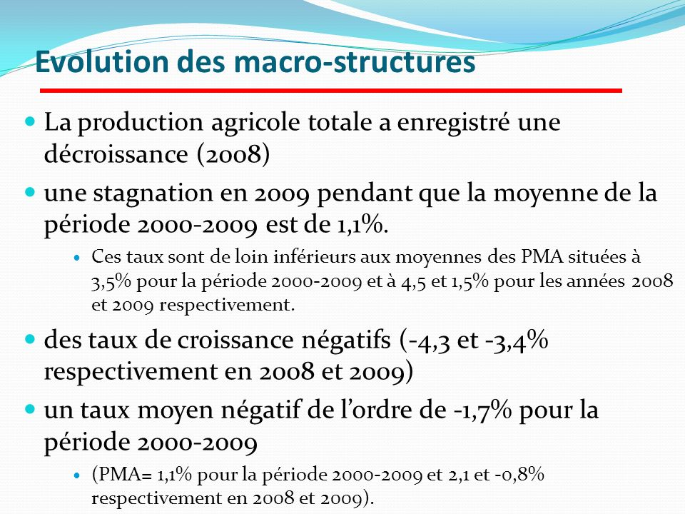 Evolution des macro-structures