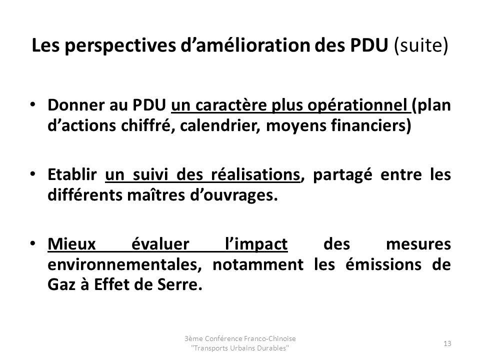 Les perspectives d'amélioration des PDU (suite)