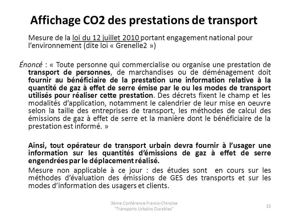 Affichage CO2 des prestations de transport
