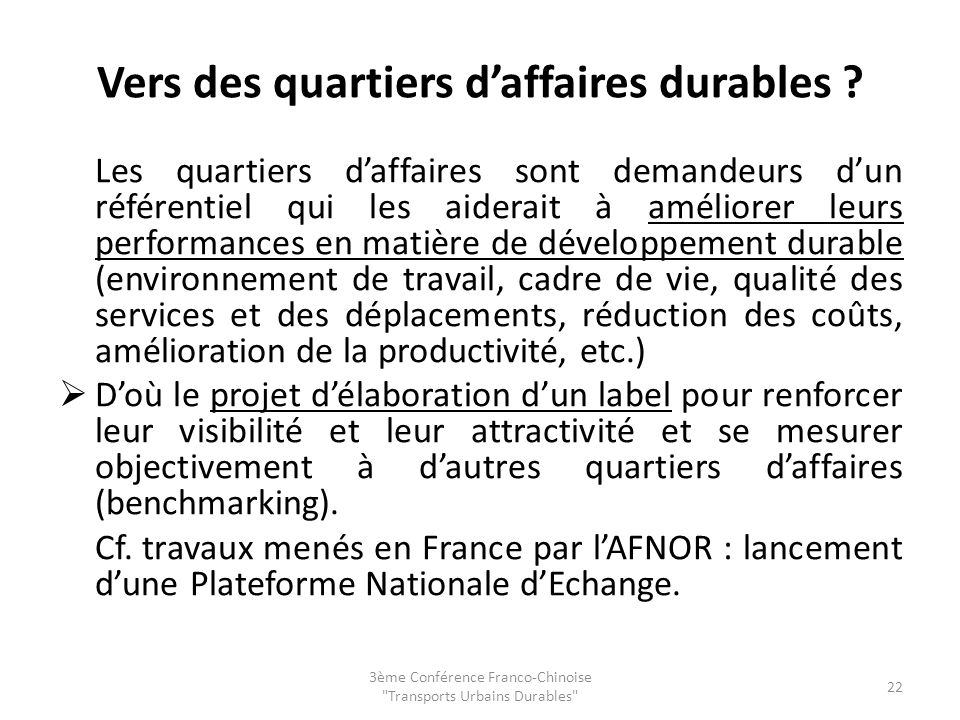 Vers des quartiers d'affaires durables