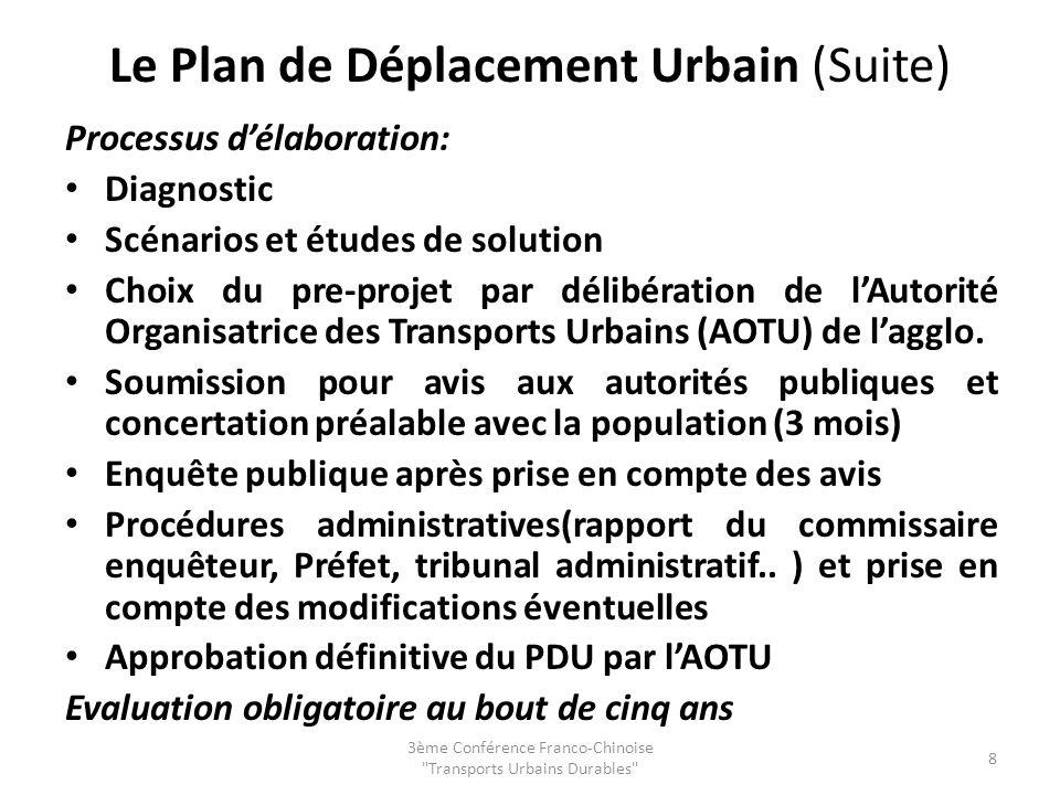 Le Plan de Déplacement Urbain (Suite)