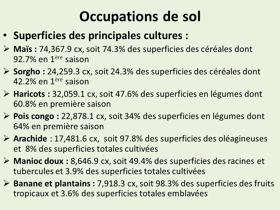 Occupations de sol Superficies des principales cultures :
