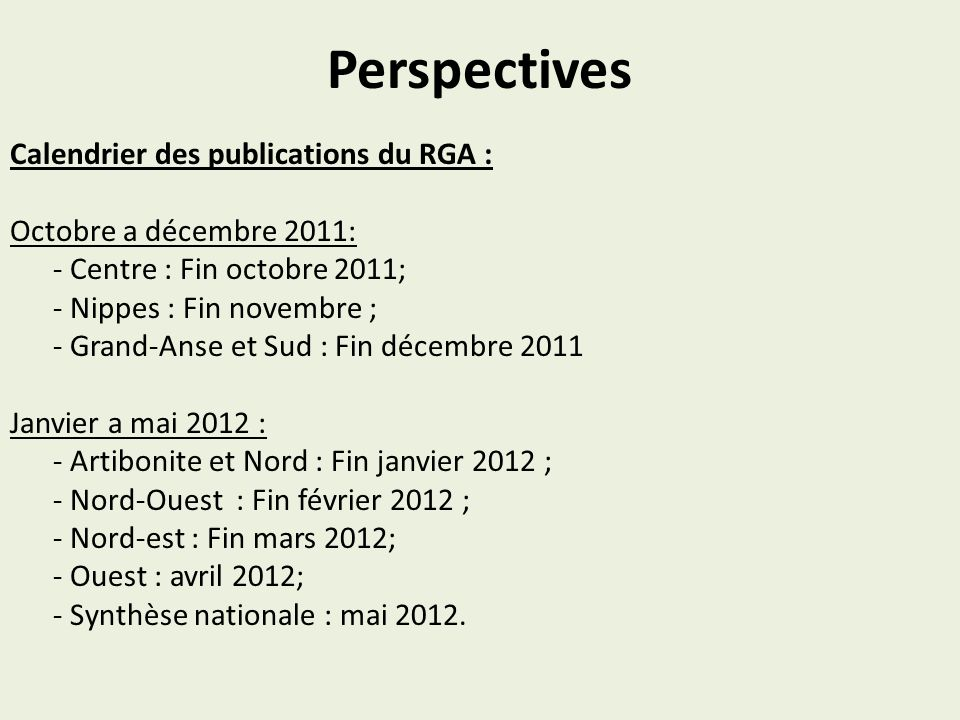 Perspectives Calendrier des publications du RGA :