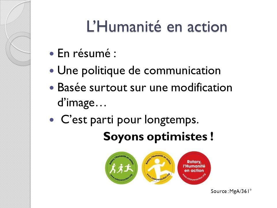 L'Humanité en action En résumé : Une politique de communication