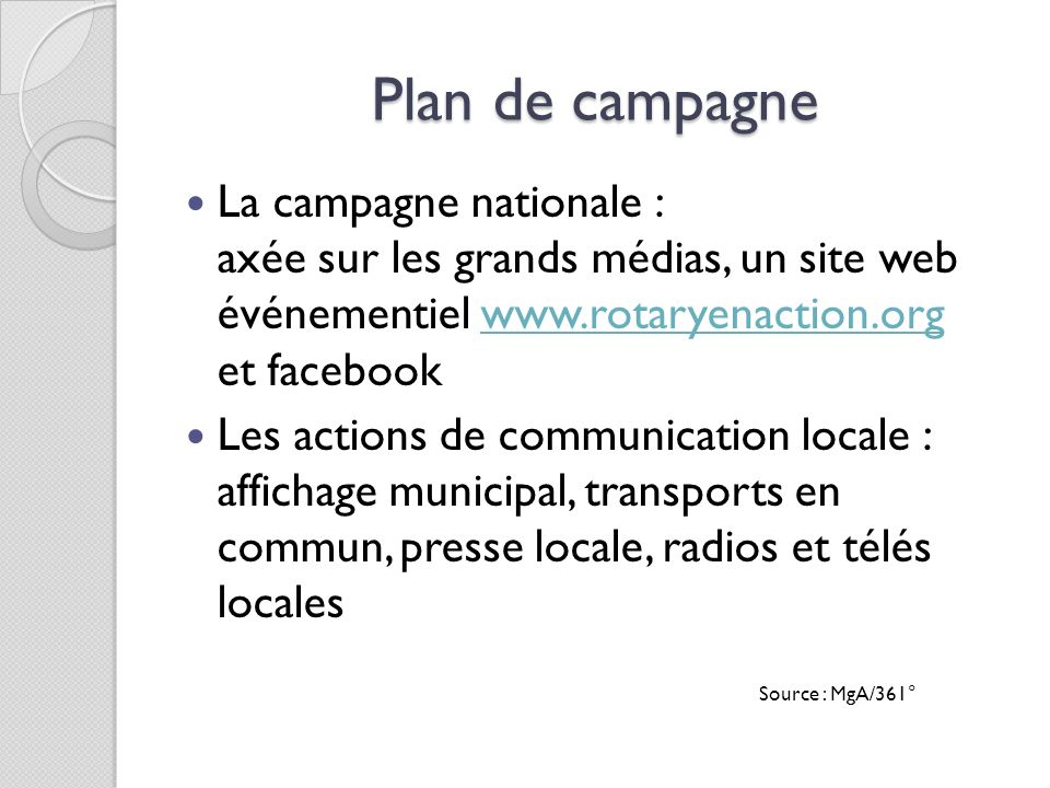 Plan de campagne La campagne nationale :