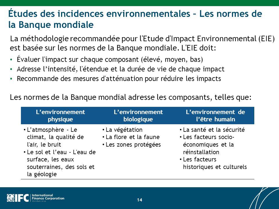 Études des incidences environnementales – Les normes de la Banque mondiale