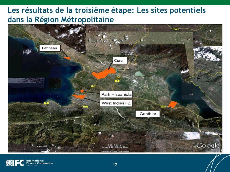 Les résultats de la troisième étape: Les sites potentiels dans la Région Métropolitaine