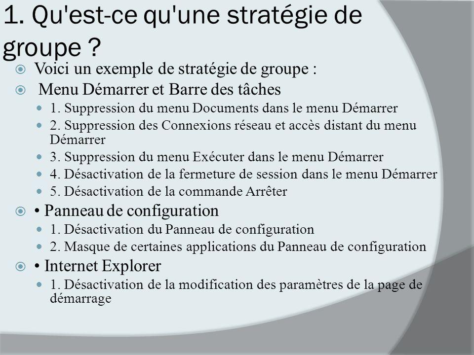1. Qu est-ce qu une stratégie de groupe