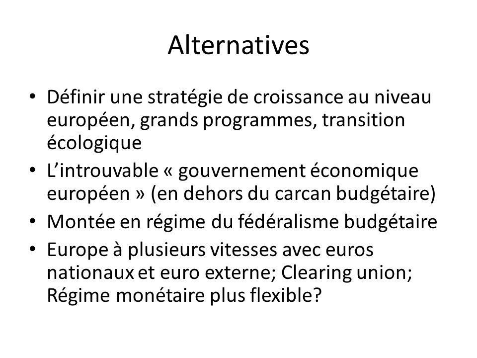 Alternatives Définir une stratégie de croissance au niveau européen, grands programmes, transition écologique.