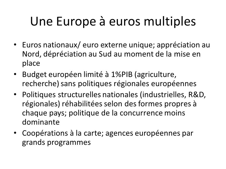 Une Europe à euros multiples